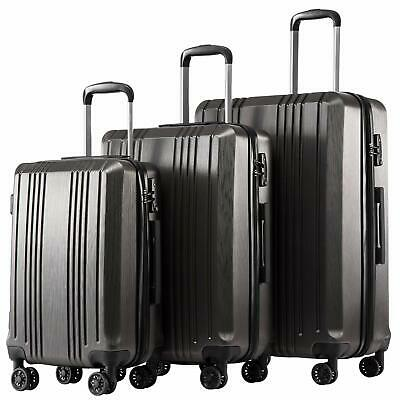 Coolife Luggage Expandable Suitcase PC+ABS 3 Piece Set with TSA Lock Spinner 20i