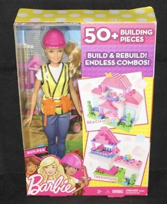 Barbie Build & Rebuild Builder Doll Beach House or Treenhouse - 50 Pieces Play