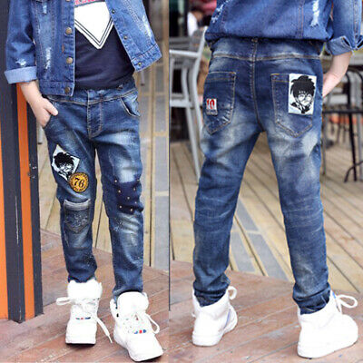 IENENS Kids Boy Jeans Denim Pants Clothes Youth Boy Stylish Slim Long Trousers