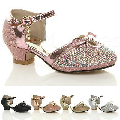 Girls Kids Childrens Low Heel Glitter Diamante Bow Buckle Party Shoes Size