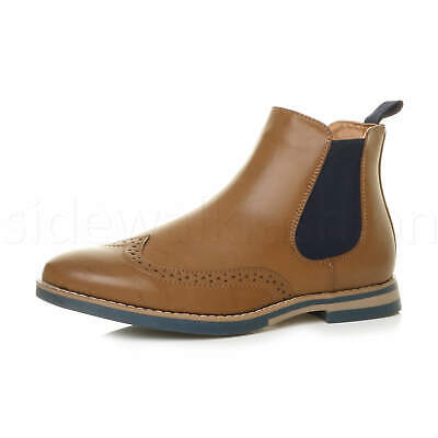 MENS ROUND TOE CONTRAST SMART WORK PULL ON BROGUES CHELSEA ANKLE BOOTS SIZE
