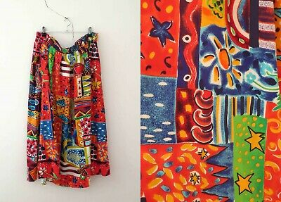 Vintage 80s Rayon Multicoloured Gathered Skirt Large Buy 3 + items for FREE POST