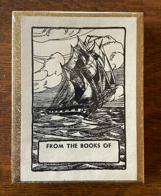 Vintage Antioch Bookplates Tall Masted Sailing Ship Box 50 New