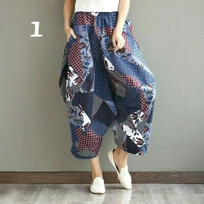 Lady Chinese Cotton Linen Harem Trousers Pants Casual Baggy Bloomers Floral New