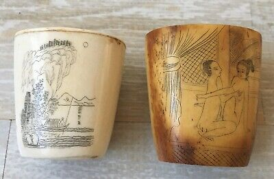 2 Antique Scrimshaw Asian Bone or Horn Pieces 1 With Explicit Etching Very Old