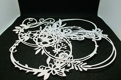 5  White Decorative Circle Frame Die Cuts......cardmaking......scrapbooking