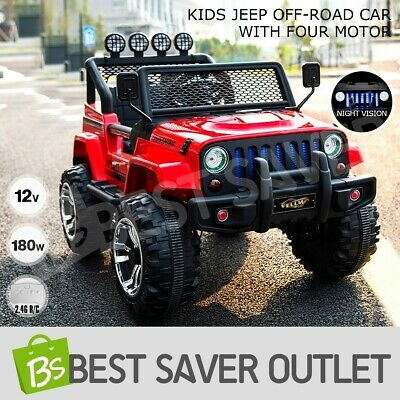 Electric Kids Jeep Off-Road Ride on Car Remote Control 12V Built-in Music Red
