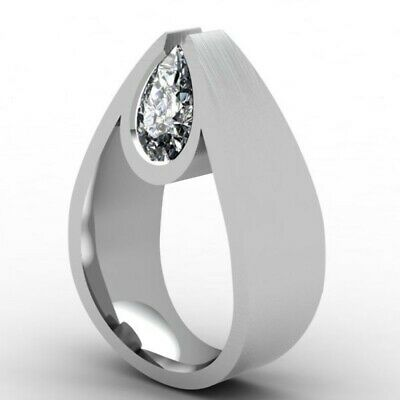 Water Drop Women 925 Silver Rings White Sapphire Wedding Band Rings Size 6-10