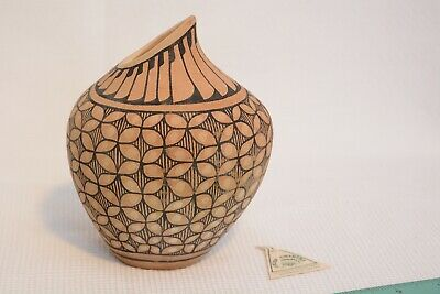 Hand Painted Clay Vase Signed Toya Jemez American Pottery From Canada