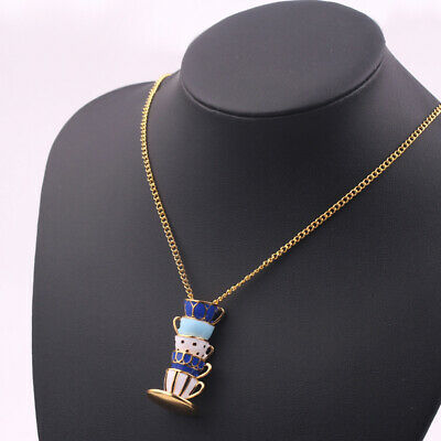 Chic Long Hand Painted Enamel Chain Women Teacup Pendant Choker Necklace D