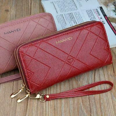 Women Clutch Leather Wallet Long Card Holder Phone Handbag Lady Purse Case Y3L2