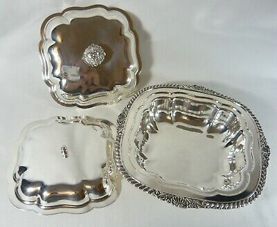 Silver Plate 3 pc Double lidded Entree Dish LIPMAN BROS.  Gadroon Shell