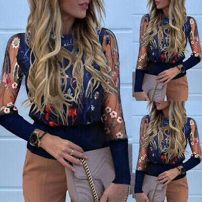 Womens Floral Mesh Long Sleeve Blouse Ladies Work Casual Shirts Patchwork Tops