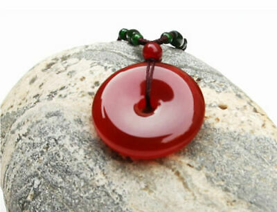 Beautiful China Natural Red Agate Hand-carved Lucky Buckle Chalcedony Pendant