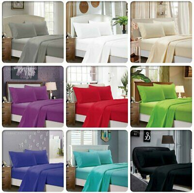 Single/Double/Queen/King 4 Piece Bed Sheet Set,Flat,Fitted,Pillowcases Soft New