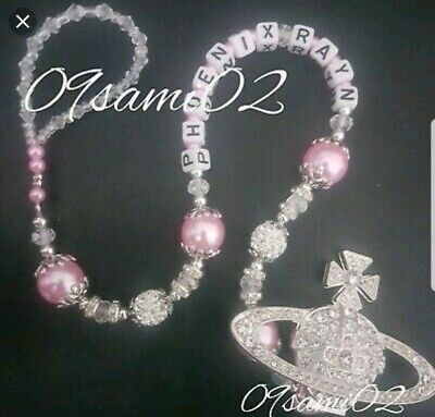 Personalised Baby girls ❤ Bling Dummy Clip, Pearl & Crystal ❤romany❤orb