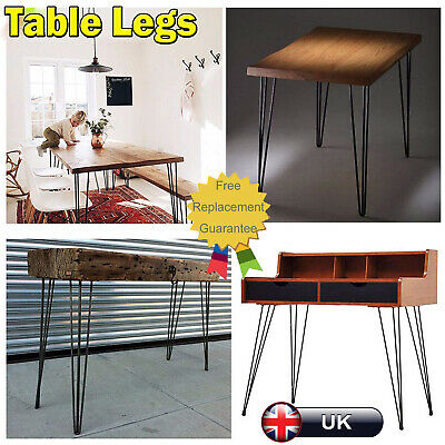 4 Pack Heavy Duty Hairpin Table Legs Bare Steel Hairpin Legs Modern Style DIY 4x