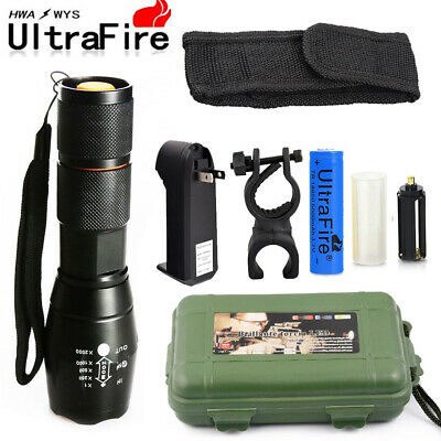 Military 90000LM T6 Zoomable Tactical LED Flashlight Lamp +18650 Battery+Charger