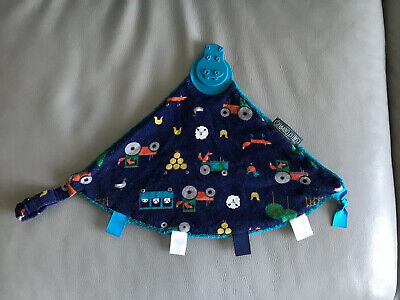 Cheeky Chompers Teething Comforter With Tractor/animals Design farm blue