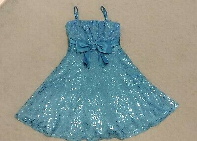 Marks & Spencer Autograph Girls Teal Sequin Sparkly Party Dress 11 Years