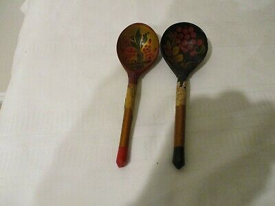 Vintage USSR Folk Art wooden Laquered Spoons pre 1980s