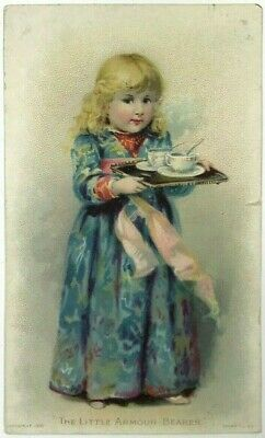 1892 Little Armour Bearer Beef Extract Victorian Child Girl Tray Tea Cups Card