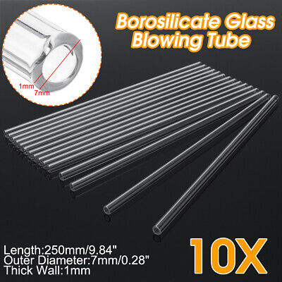 10Pcs Length 250mm OD 7mm 1mm Thick Wall Borosilicate Glass Blowing Tube Lab