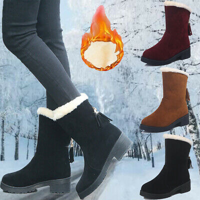 UK Womens Snow Boots Zipper Slip On Winter Warm Fur Lined Ankle Boots Shoes Size