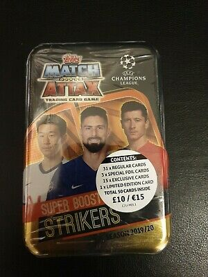 Topps Match Attax Season 2019/20 Tin 50 Cards+1 Ltd Ed = Strikers