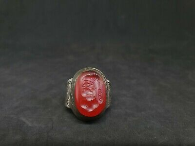 Wonderful Silver Mix Unique Ring With Intaglio King Red Agate Stone #23d