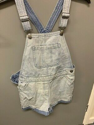 Next Girls Dungaree shorts light blue denim Age 12 years