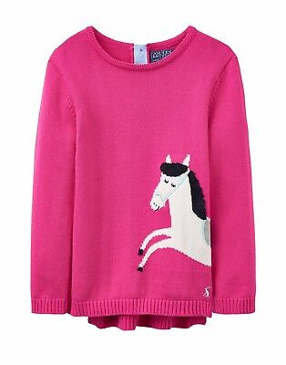 Joules Girls Winnie Pink Knitted Jumper with Horse Design Age 4 yrs