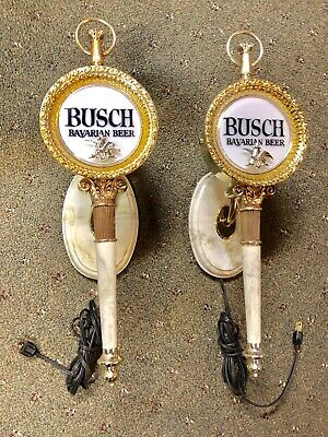 Pair Vintage Advertising Busch Beer Bar Lights Man Cave Sign