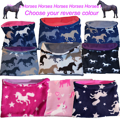 Fleece neck and ear warmer sets winter snood horses unicorns scarf cats penguins