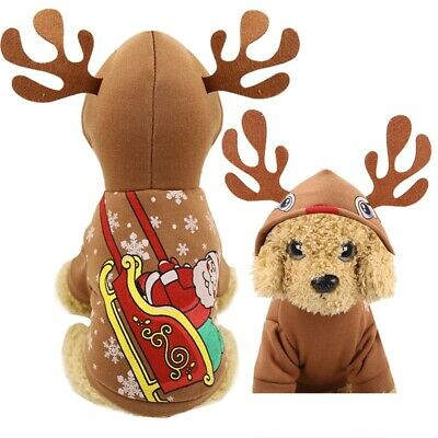 Small Cat Pet dog Puppy Christmas Costume Santa Claus Winter Warm Coat Outfit