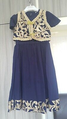 girls 3peice navy & gold dress party occasion clothes outfit age 6-8years