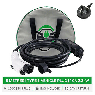 Type 1 portable / home EVSE charger. 10A. 5M. 3pin UK plug. Electric car charger