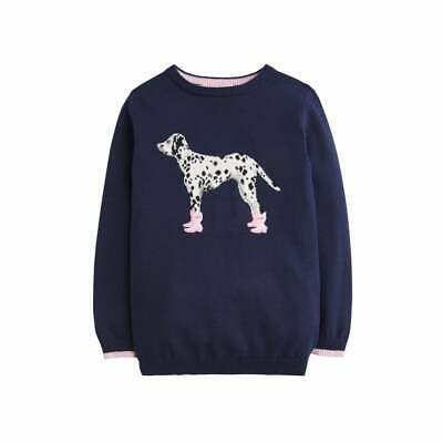 Joules Girls Navy Knitted Jumper with Booted Dalmation Dog Age 4 / 5 / 6 / 9-10