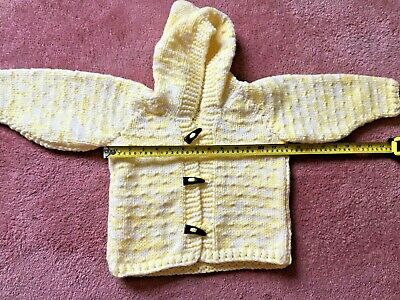 Hand Knitted childs cardigan / coat with hood