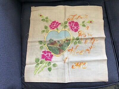 Vintage EMBROIDERED There's a Rose in the Heart OHIO House Scene AWESOME sampler