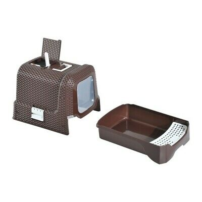 Plastic Brown Cat Litter Box With Removable Tray And Enclosed Design