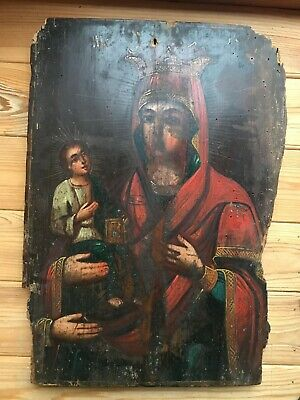 """Antique 19c Russian Orthodox Hand Painted Wood Icon """"Three-Handed Mother of God"""""""