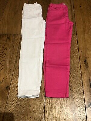 Girls Zara Skinny Stretch Trousers Pink Age 8 Years White Cotton X2 Pairs Jeans
