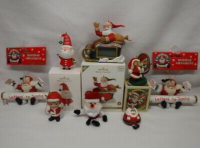 8 Christmas ORNAMENT lot all Santa Claus, Hallmark Avon Kim Casali Kurt S. Adler