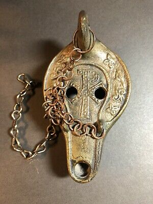 Bronze Hanging Roman Style Oil Lamp Christogram Symbol Catacombe Di Roma Marked