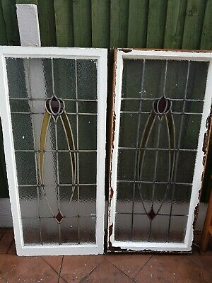 PAIR STAINED GLASS WINDOW PANELS 1930's (Original)