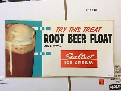 Vintage 1960s Sealtest Ice Cream Root Beer Float Paper Laminated Sign Used