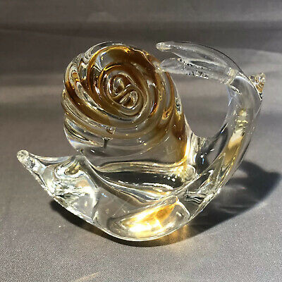 Art Glass Snail Unusual Antennae Clear and Brown Interior Paperweight