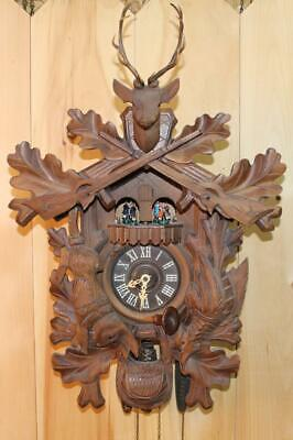 Very Large German Black Forest Hunter Musical Cuckoo Clock With Dancers ~ RUNS