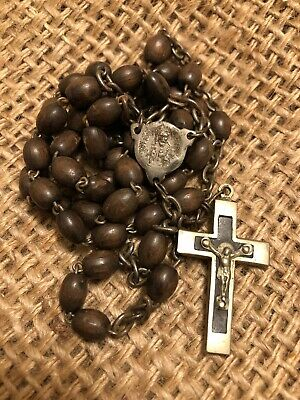 """Antique French Rosary Late 1800s 21"""" 19th C Wood Beads Inlaid Crucifix"""